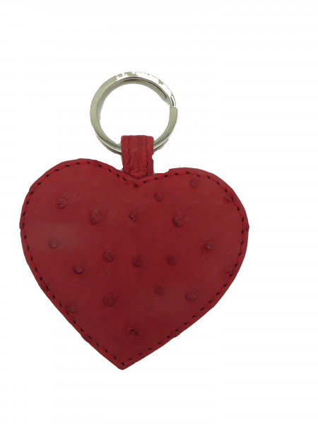 Keyring Heart Ostrich leather
